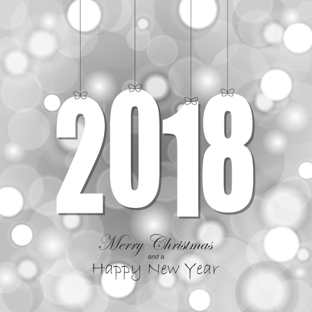 white colored hang tag numbers for New Year 2018 Illustration