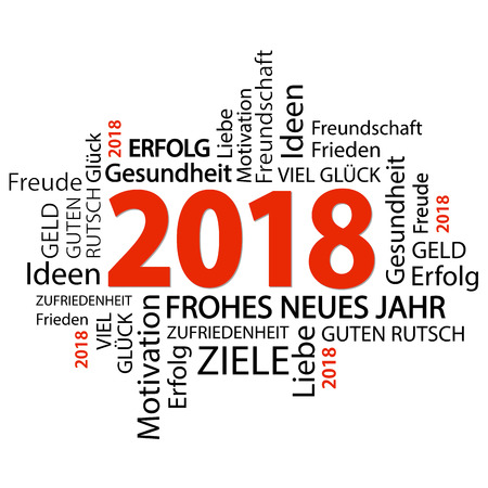 word cloud with new year 2018 greetings and white background Illustration