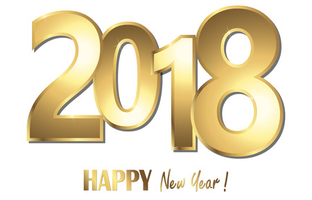 happy new year 2018 greetings with golden numbers and white background