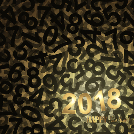 black and golden background with new year 2018 greetings Ilustração