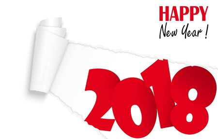 Ripped open white paper showing 2018 and text Happy New Year. Illustration