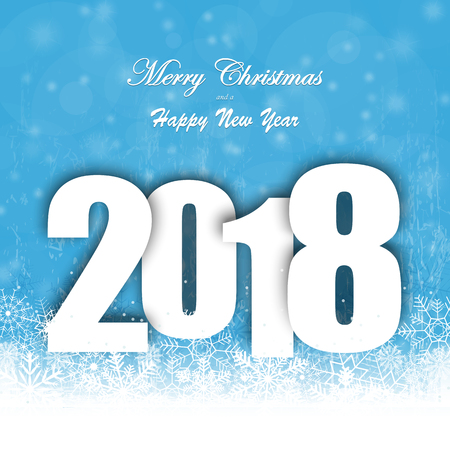 background with snow fall and greetings for christmas and New Year 2018