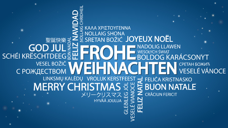 Word cloud with text Merry Christmas in different languages, in the middle one oversized and bold written in German