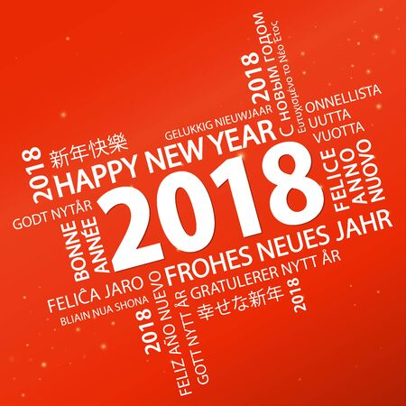 word cloud with new year 2018 greetings and red background Illustration