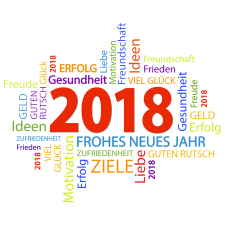 word cloud with new year 2018 greetings and white background royalty free cliparts vectors and stock illustration image 91633539