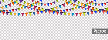 seamless colored garlands background for party or festival usage with transparency in vector file