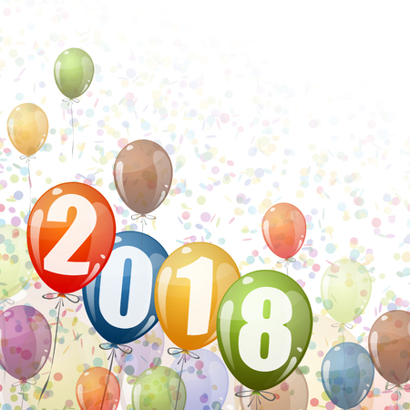 confetti and colored balloons with numbers for New Year 2018 Ilustrace
