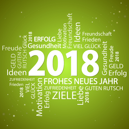 word cloud with new year 2018 greetings and green background