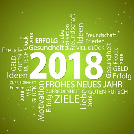 Wortwolke mit Grüße und grünem Hintergrund des neuen Jahres 2018 Vektorgrafik