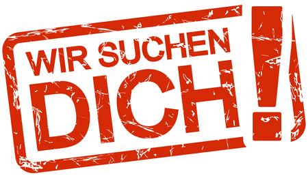 フレーム色の赤とテキストWir suchen dichのグランジスタンプ 写真素材 - 94811970
