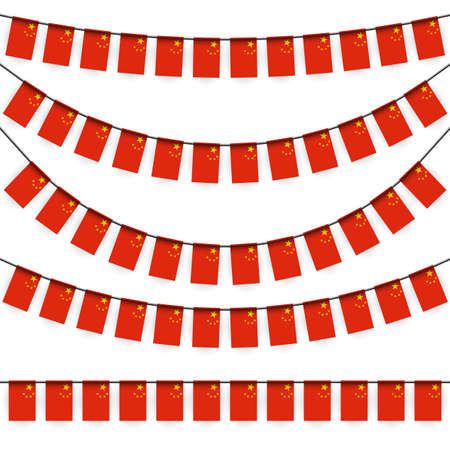 different garlands with national colors of china flag Иллюстрация