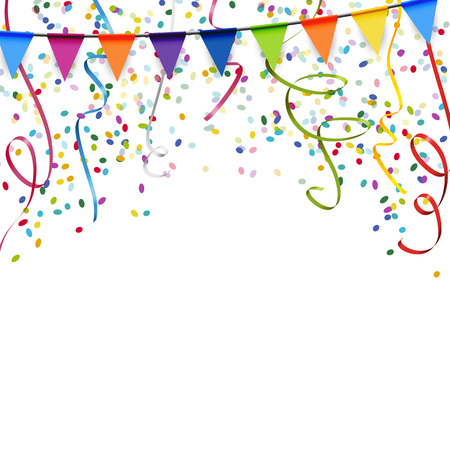 colored garlands, streamers and confetti background for party or festival usage