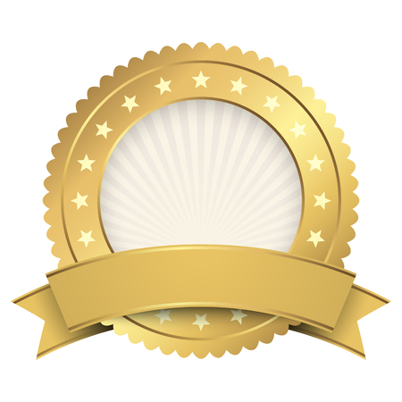 Gold Button template with golden banner Illustration