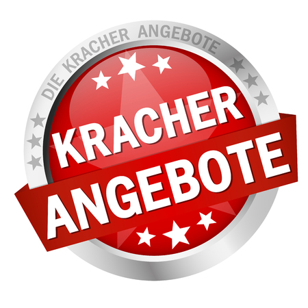 Round colored button with banner and text Kracher angebote.