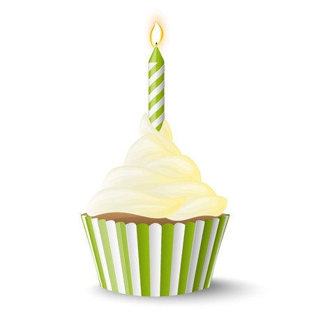Cupcake with colored candle for birthday