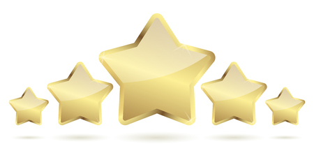 Five golden stars with shadow in a row vector file.