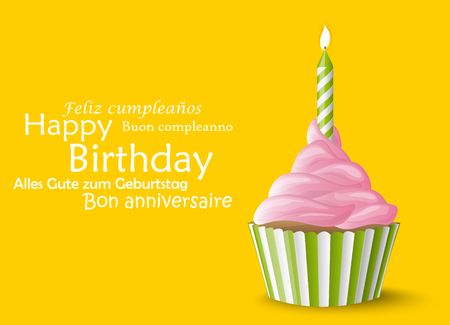 sweet vector cupcake with candle on colored background for birthday