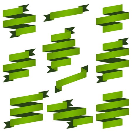big collection of green retro banners vector file Illustration