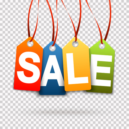 four colored SALE hang tags with transparency in vector file