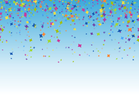 colored confetti for party or festival usage on blue background