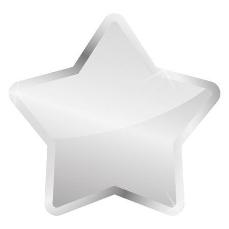 vector of silver star glossy with silver frame Çizim