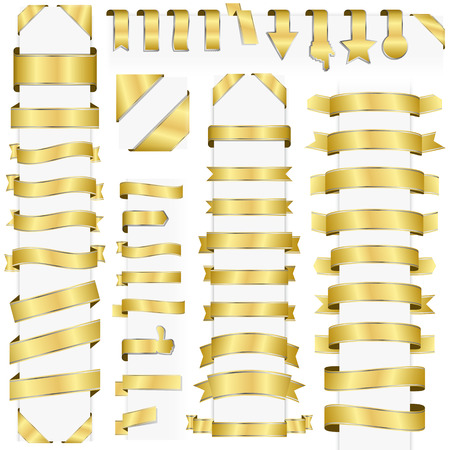 big collection of design retro banners colored gold Illustration
