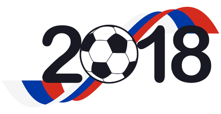 Lettering 2018 with soccer ball and russian national colors