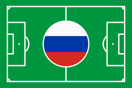 Abstract green soccer field with white marks and russian national colors in center point Standard-Bild - 101205302