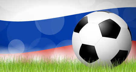 Soccer ball lying in the grass in front of russian flag Çizim