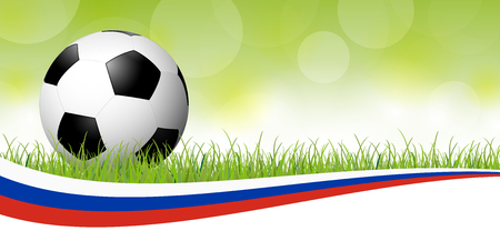 Background with soccer ball lying in the grass with russian colors banner