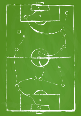 Abstract green soccer field background with white marks