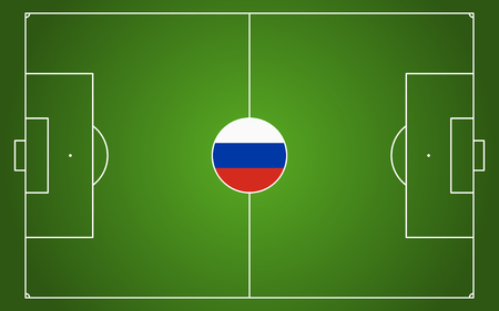 abstract green soccer field with white marks and russian national colors in center point