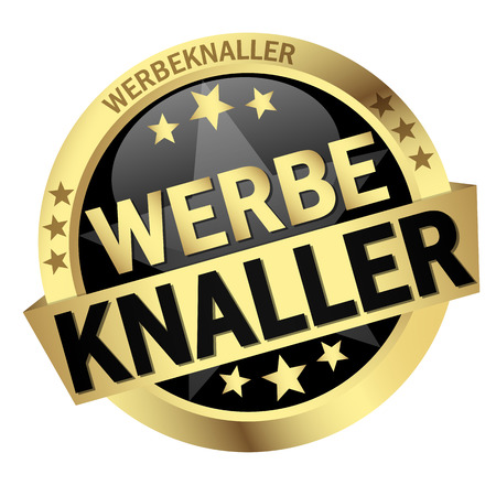round colored button with banner and text Werbeknaller