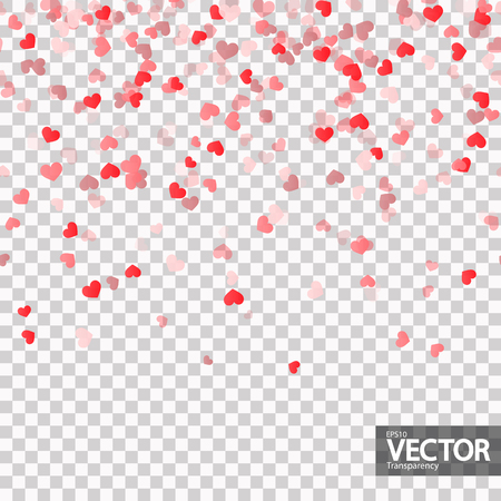 seamless background with different colored confetti hearts for valentine time with transparency in vector file Illustration