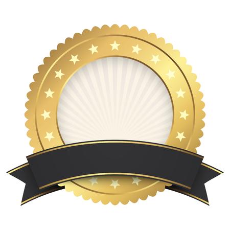 Modèle de bouton or avec fichier vectoriel de bannière noire
