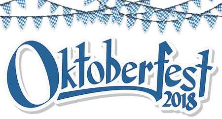 Oktoberfest 2018 garlands having blue-white checkered pattern and blue confetti Banco de Imagens - 104219178
