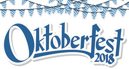 Oktoberfest 2018 guirnaldas con patrón a cuadros azul-blanco y confeti azul Ilustración de vector