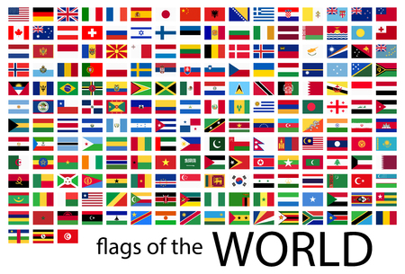 collection of flags from all national countries of the world Illustration