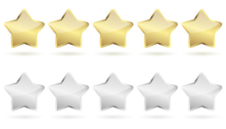 five stars with shadow golden and silver vector file Illustration