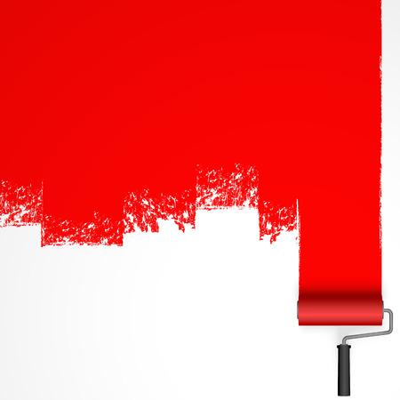 repeindre avec un rouleau à peinture avec marquage de couleur rouge