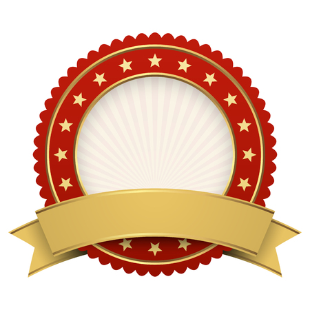 Plantilla de botón rojo con archivo de vector de banner dorado