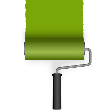 paint roller brushs a line from top colored green