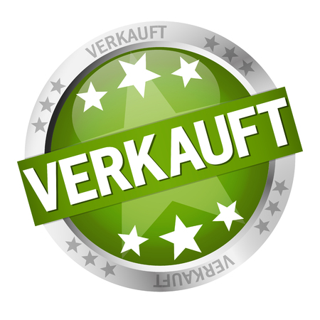 round colored button with banner and text Verkauft