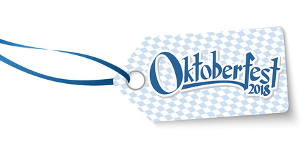 hangtag with blue white checkered pattern and text Willkommen zum Oktoberfest 2018 (in german)