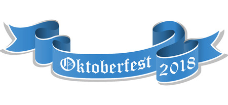 vector illustration of an blue banner with text Oktoberfest 2018 isolated on white background Ilustração