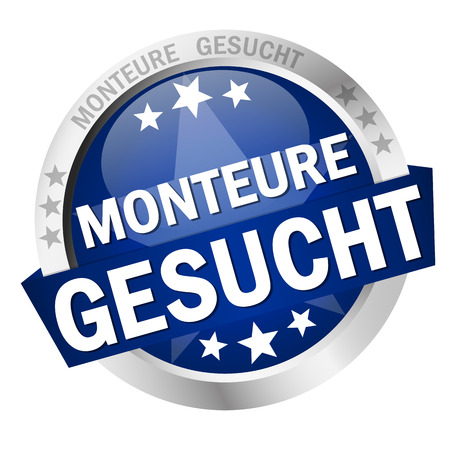 round colored button with banner and text Monteure gesucht