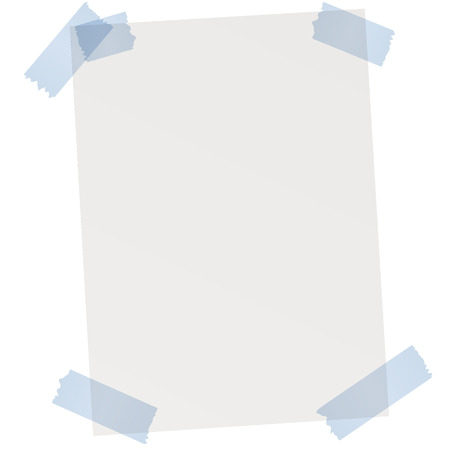 empty sheet of gray paper with blue adhesive tape Standard-Bild - 113768951