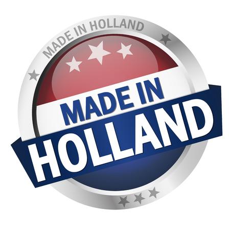Botón redondo con banner, bandera del país y texto MADE IN HOLLAND Ilustración de vector