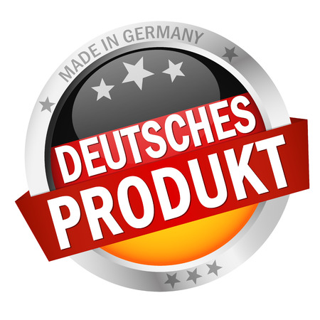 round button with banner, country flag and text DEUTSCHES PRODUKT