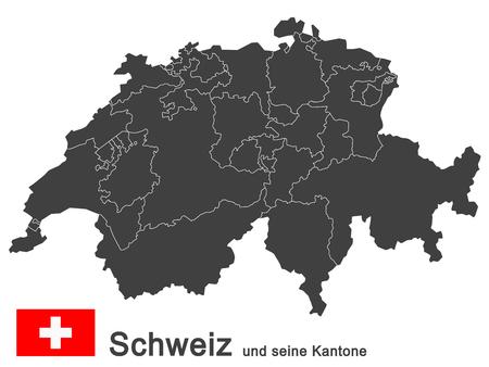 Siluetas de Suiza, país europeo y todos los cantones. Ilustración de vector